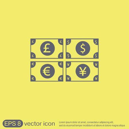 libra esterlina: signo factura dinero. Icono del s�mbolo del d�lar, la libra esterlina, el yen japon�s, el euro