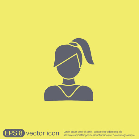 tail woman: Un avatar femenino. chica con el pelo de la cola. Avatar de una mujer con el pelo largo y flequillo