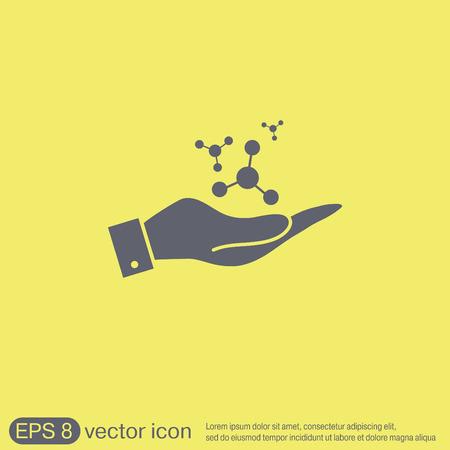 química: mano que sostiene el átomo, molécula. el símbolo de la física y la química. Símbolo del icono de la física o la química. el estudio de la ciencia