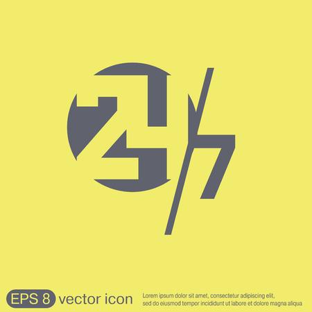 24 sept icône. ouvrir 24 heures par jour et sept jours par semaine icônes Illustration