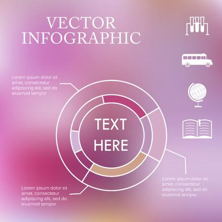 graficas de pastel: Vector gr�ficos circulares infograf�a m�s colorido fondo borroso bokeh desenfocado