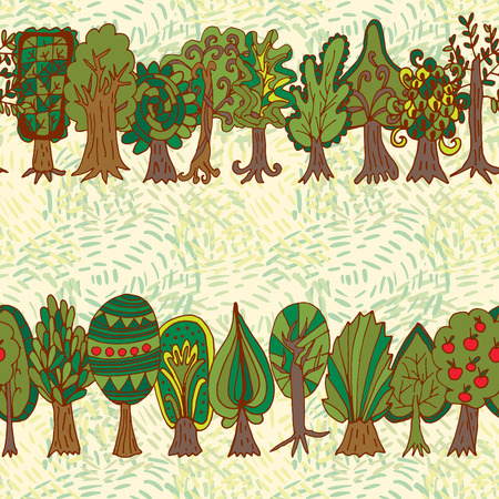 forest tree. Seamless hand-drawn pattern Vector
