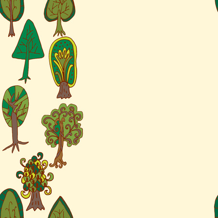 Seamless hand-drawn border pattern with doodle forest tree Vector