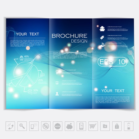 advertising template: Tri-Fold Brochure mock up vector design. Smooth unfocused bokeh background with waves and shiny elements. Corporate Business Style