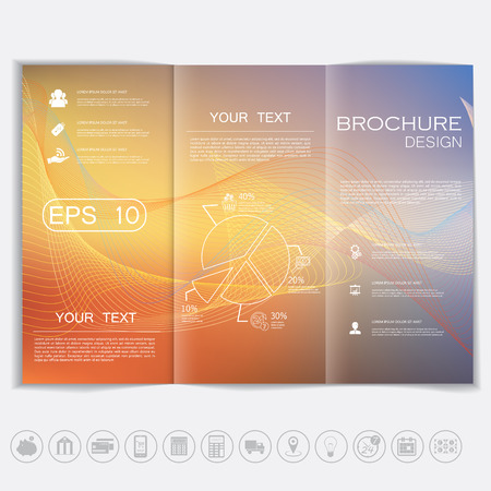 cover concept: Tri-Fold Brochure mock up vector design. Smooth unfocused bokeh background with waves elements. Corporate Business Style Illustration