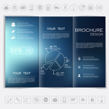 graphic presentation: Tri-Fold Brochure mock up vector design. Smooth unfocused bokeh background. Corporate Business Style