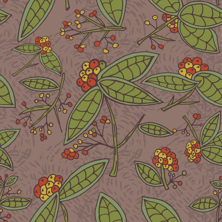 cranberry illustration: Cranberry pattern with leaves and berries.  Illustration