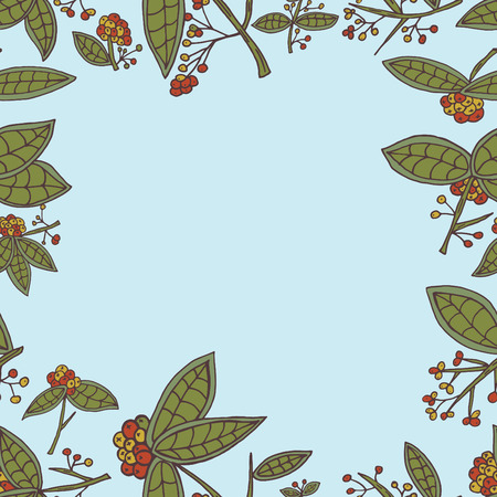cranberry: Cranberry border pattern with leaves and berries.  Illustration