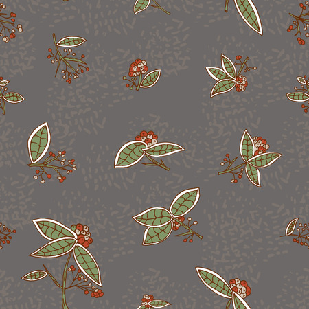 cranberry: Cranberry pattern with leaves and berries.  Illustration
