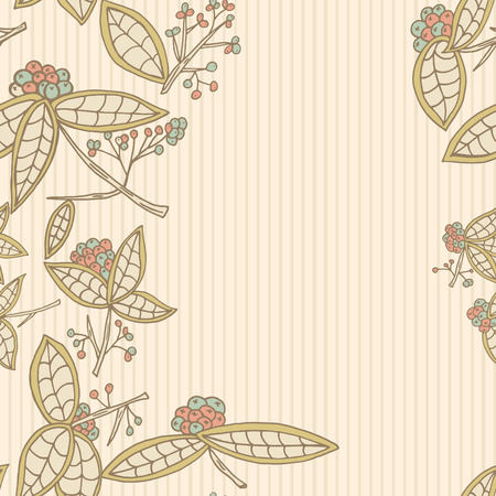 cranberry illustration: Cranberry border pattern with leaves and berries.  Illustration