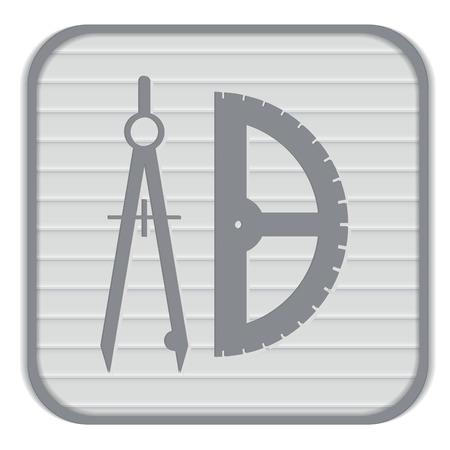 herramientas de construccion: la brújula y el transportador. geometría caracteres. Signo Educación. símbolo icono de dibujo y la geometría
