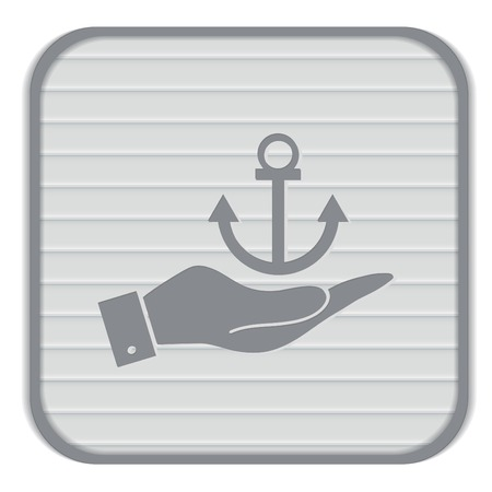 hand holding a Nautical Anchor vector. anchor seafaring character. icon marine instrument
