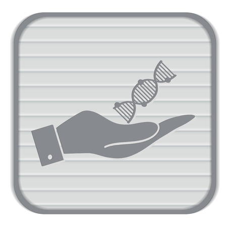 dna helix: hand holding a DNA helix. Medical Research character. Symbol of medicine. Icon Biology and Genetics Illustration