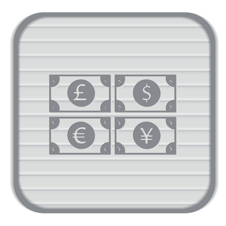 pound sterling: money bill sign. symbol icon dollar, pound sterling, Japanese yen , euro
