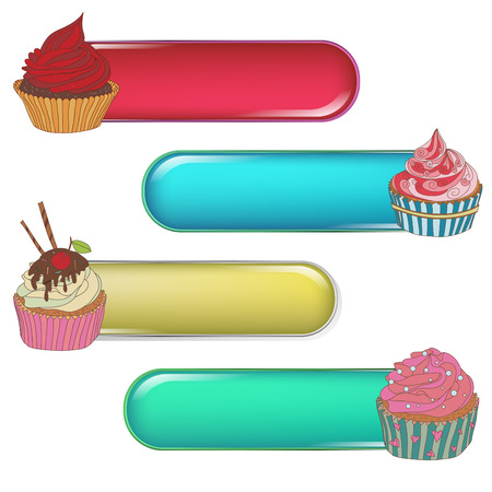 The price tag label with a cupcake. Write the text at the top. Set of different cupcakes.