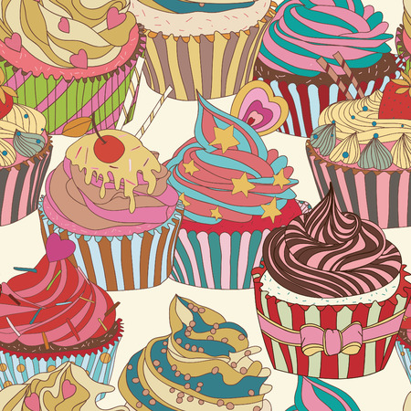 product background: Cupcake pattern. Seamless Sweet food texture. Use as a pattern fill Illustration