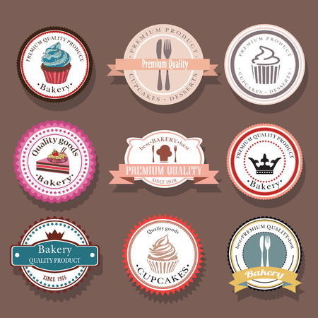 cake: Set of bakery vector labels and badges. Collection of food icons