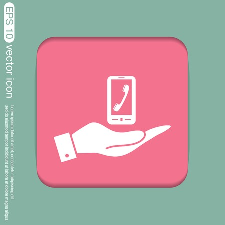 telephone handset: hand holding a smartphone with the symbol telephone handset