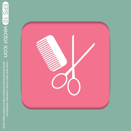 comb and scissors. barbershop. symbol of hair and beauty salon Illustration