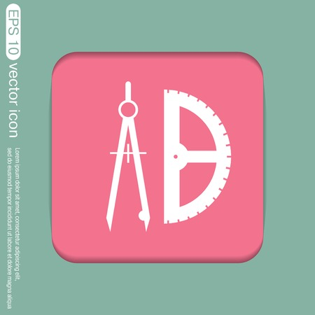floorplan: the compass and protractor. characters geometry. Education sign. symbol icon drawing and geometry Illustration