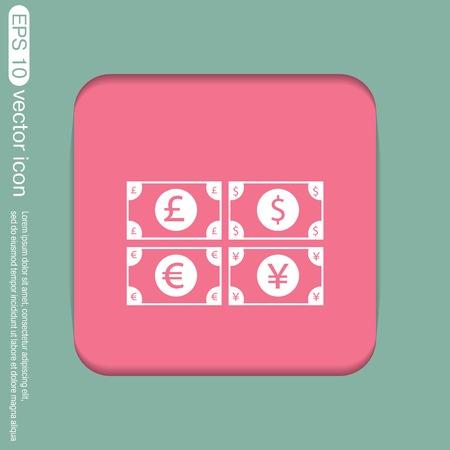 japanese yen: money bill sign. symbol icon dollar, pound sterling, Japanese yen , euro