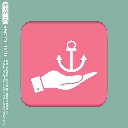 seafaring: mano que sostiene un vector Ancla n�utica. anclar car�cter marinero. icono instrumento n�utico