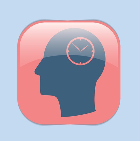 silhoutte: Vector Icon head think silhoutte vector man and his mind about clock. watch sign, Icon watch. symbol time