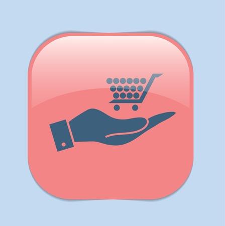 hand cart: mano sosteniendo un carro tienda online, tienda de Internet. cesta de la compra
