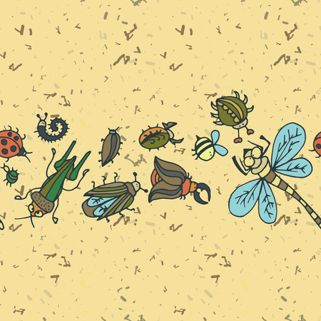 beetles: Cute cartoon insect border pattern. Summer concept background. Colorful vector background with doodle beetles Illustration