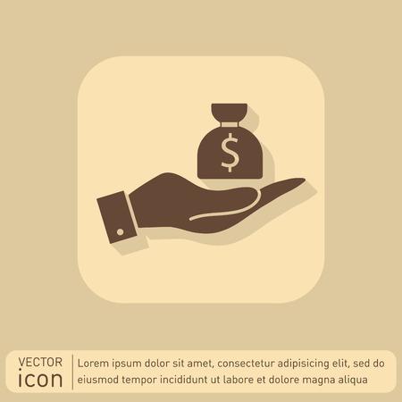 hand holding money bag: hand holding a bag of money. Illustration