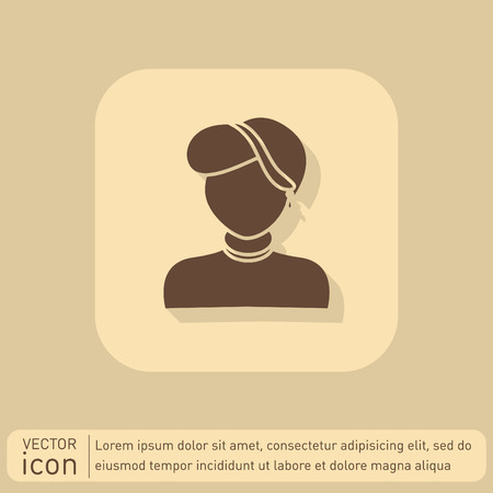 earring: A female avatar. Avatar of a woman. Round icon image of a girl with earring