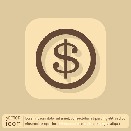 graphic element: Dollar coin. symbol of money Illustration