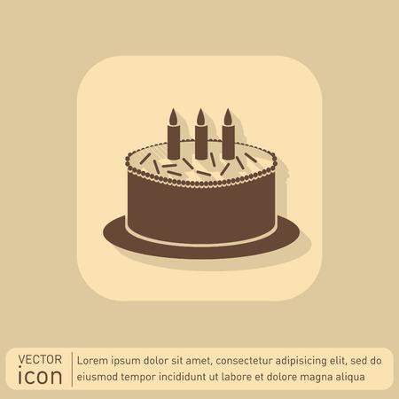 holiday food: birthday cake icon. symbol of cake. Celebrating the birthday of the loaf .