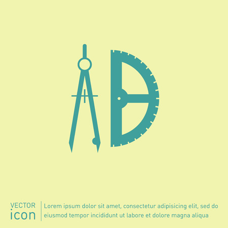 compass: the compass and protractor. characters geometry. Education sign. symbol icon drawing and geometry Illustration