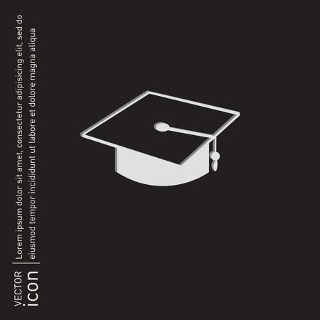 diplôme signe chapeau. Signe de l'éducation. symbole icône collège ou un institut. graduation