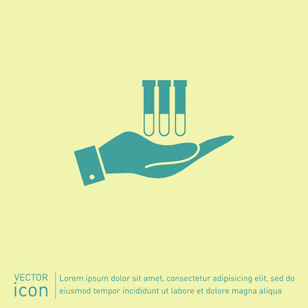reagents: hand holding a bulb or beaker.  symbol icon of medicine or chemistry . the study of science Illustration