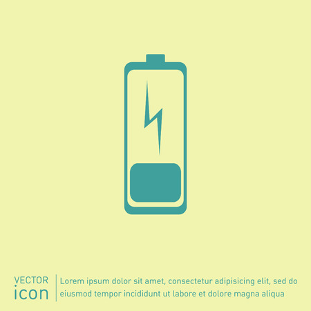 battery acid: discharged battery. symbol a discharged battery. icon energy