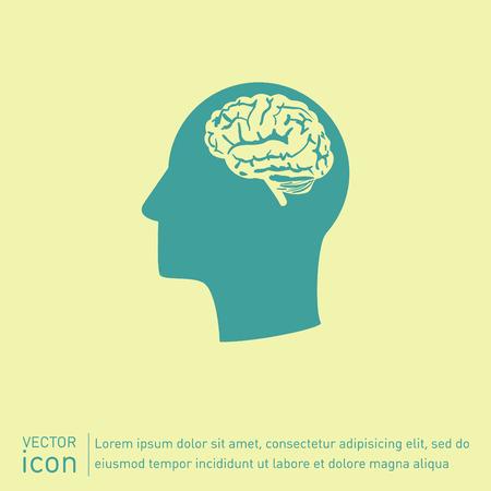 Vecteur Icône tête pense vecteur silhoutte l'homme et son esprit à propos de Brain. L'esprit et la science