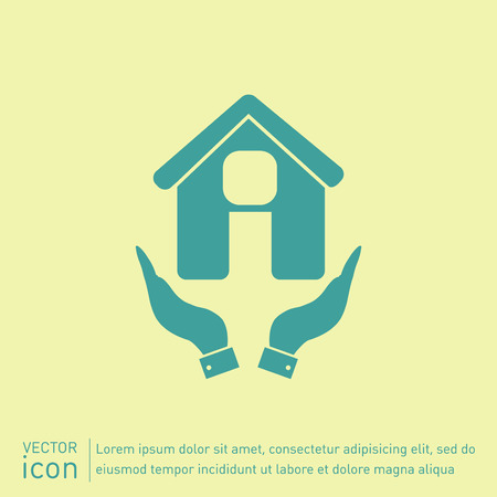inactive: hand holding a House icon. Home sign