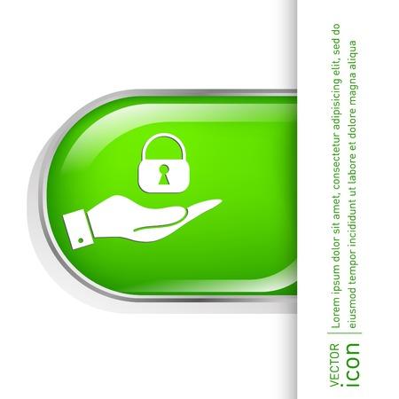 hand holding a padlock symbol Vector