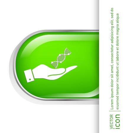 hand holding a DNA helix. Medical Research character. Symbol of medicine. Icon Biology and Genetics Vector