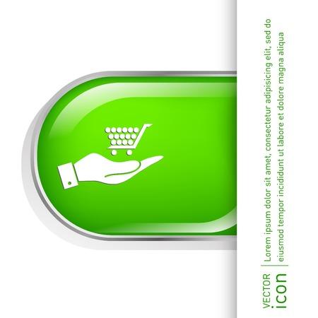 hand cart: mano que sostiene un carro tienda online, tienda de Internet. cesta de la compra Vectores