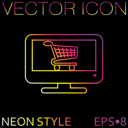 monitor with symbol shopping cart, shopping in Internet-shop, icon online shopping