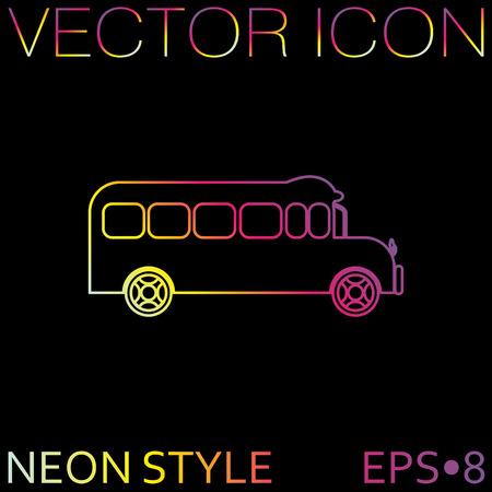 study icon: Autob�s escolar. Estudio de s�mbolos. Transporte Icono