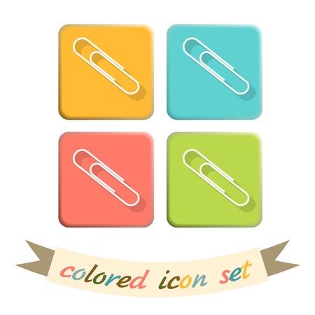 paper fastener: paper clip icon, a symbol of office Illustration