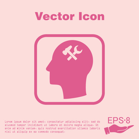 silhoutte: Vector Icon head think silhoutte vector man and his mind about  symbol settings sign, hammer and wrench