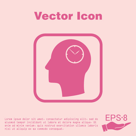Vector Icon head think silhoutte vector man and his mind about clock. watch sign, Icon watch. symbol time