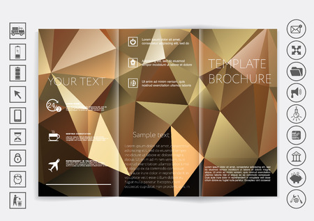 business style: Tri-Fold Brochure mock up vector design. Polygonal background. Corporate Business Style Illustration