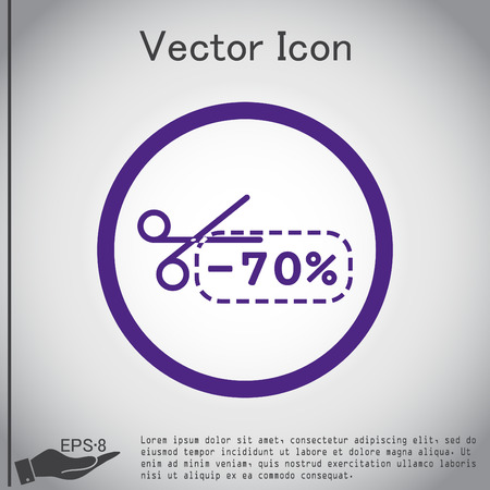 Coupon de réduction avec le signe des ciseaux. symbole icon rabais sur la marchandise Illustration