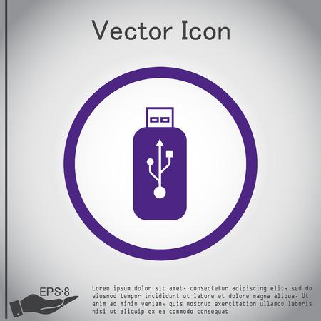 usb disk: Vector usb flash icon disk